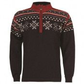 Dovre Unisex Sweater M, Navy/Light Charcoal/Red Rose