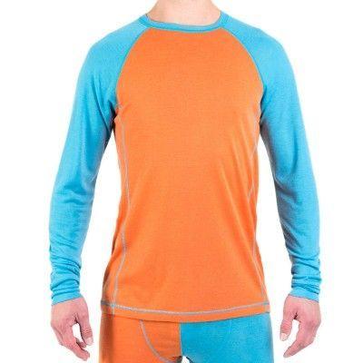 Men's Merino Roundneck M, Blue/Orange